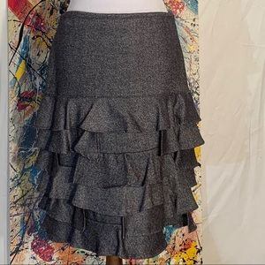 Talbots black and white tweed ruffled skirt.